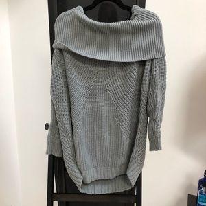 NEW TOBI Off the Shoulder Gray Sweater Dress